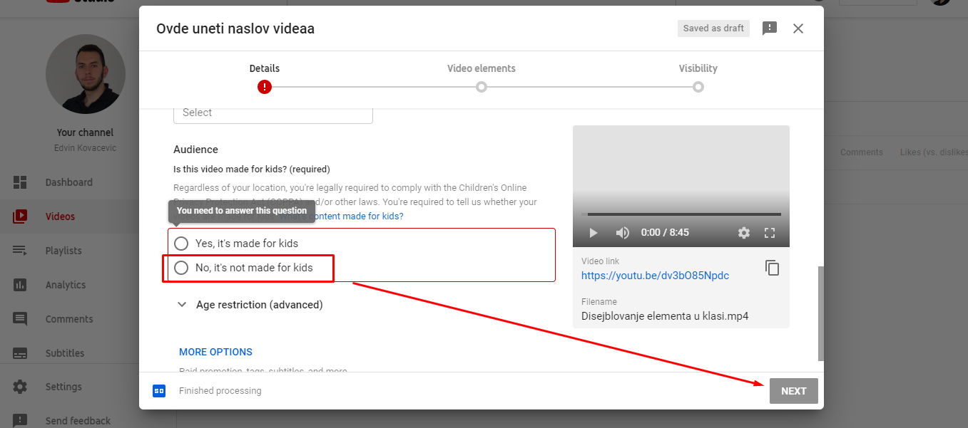 youtube for kids opcija pri upload-u